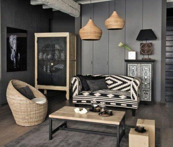 Déco Salon  deco salon gris, murs couleur anthracite