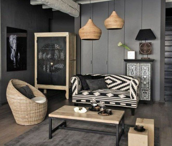 D co salon deco salon gris murs couleur anthracite canap en noir et blanc fauteuil en for Comdeco salon canape gris