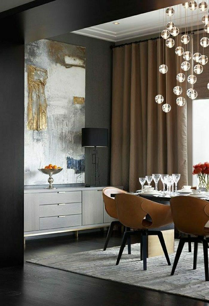 Déco Salon - aménagement de couleur taupe, rideaux longs taupes ...