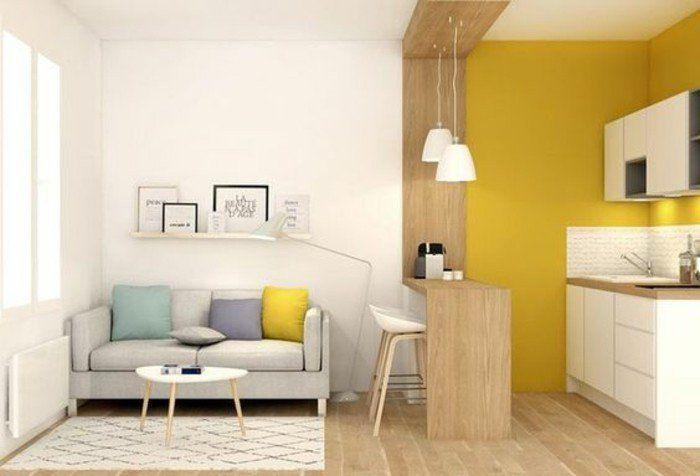 dco salon amnagement dun salon de petite surface le mur de lespace cuisine en - Idee Deco Salon Petite Surface