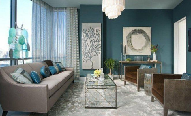 d co salon couleur peinture salon bleu p trole canap gris fauteuils marron tapis gris. Black Bedroom Furniture Sets. Home Design Ideas