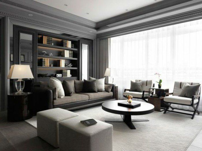 Déco Salon - joli salon gris, avec quelle couleur associer le gris ...