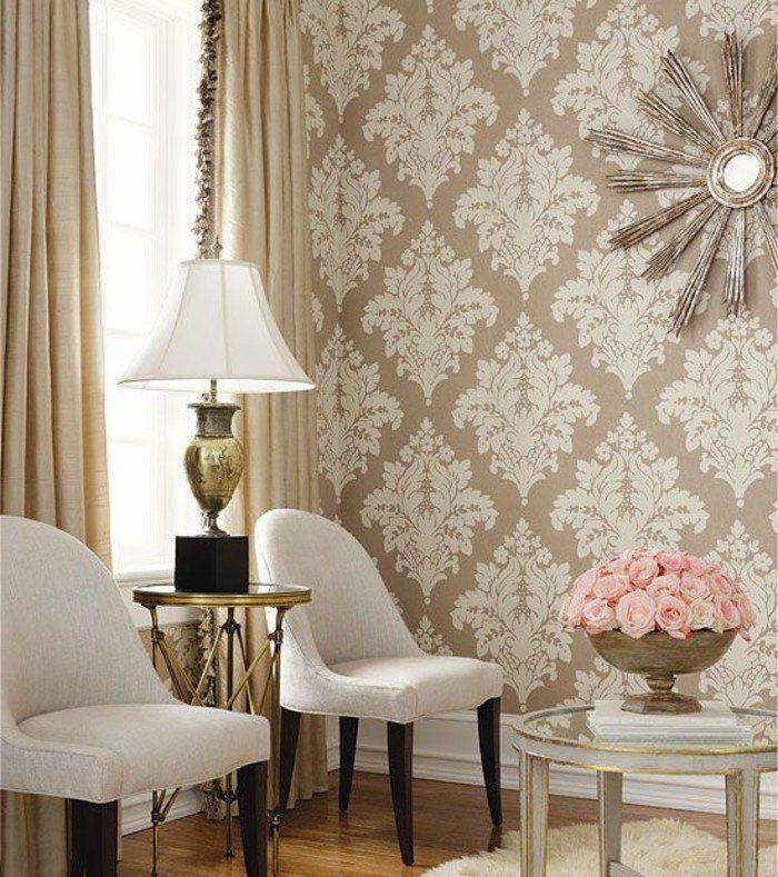 amazing dco salon u jolie idee pour le papier peint dans le salon moderne de couleur beigeu with. Black Bedroom Furniture Sets. Home Design Ideas
