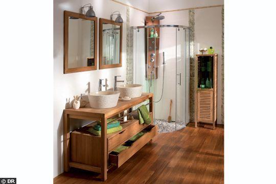 Idée décoration Salle de bain - salle de bain bois et galet ...