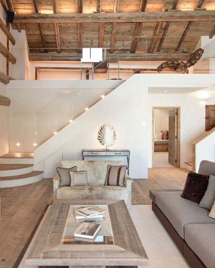 Description. deco contemporaine, toiture en bois, canapé gris