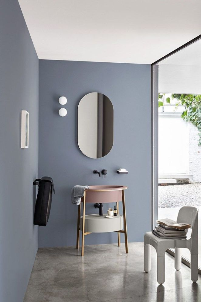 d co salon salle de bains moderne bleu gris au mur et. Black Bedroom Furniture Sets. Home Design Ideas