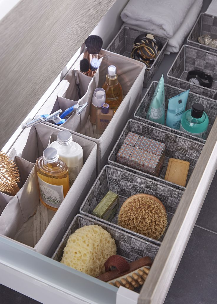 id e d coration salle de bain des paniers de rangement dans vos tiroirs de salle de bains. Black Bedroom Furniture Sets. Home Design Ideas