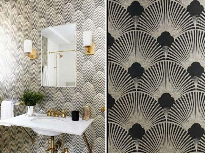 Id e d coration salle de bain salle de bain avec papier peint de style art - Style de papier peint ...