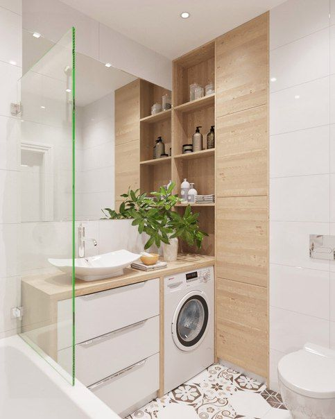 id e d coration salle de bain salle de bain blanche carreaux de ciment bois clair. Black Bedroom Furniture Sets. Home Design Ideas