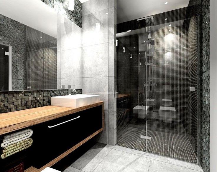 Id e d coration salle de bain salle de bain noir et for Meuble salle de bain blanc et noir