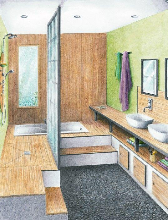 Idée Décoration Salle De Bain - Une Salle De Bains Zen De 7,85 M2