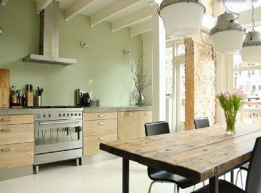 Déco Salon - Cuisine peinture vert d\'eau et meubles design chêne ...