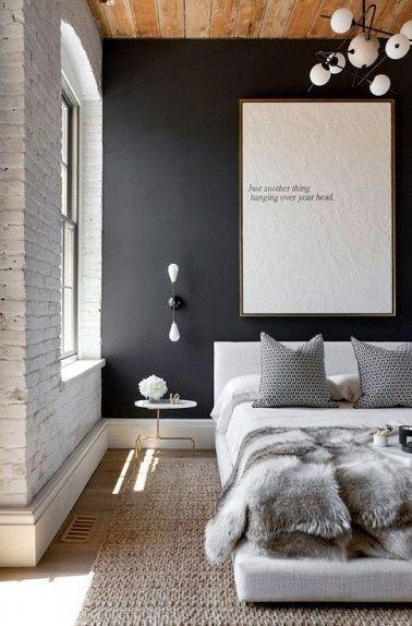 Déco Salon - Moderne Avec Un Mur Couleur Gris Ardoise Tendance