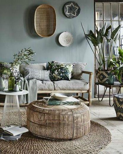 Déco Salon - Salon vert à l\'ambiance tropicale, table basse en ...
