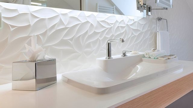Id e d coration salle de bain design cette salle de - Faience blanche salle de bain ...