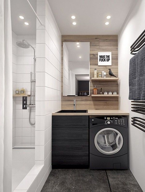 idée décoration salle de bain - petite salle de bain avec machine ... - Meuble Salle De Bain Machine A Laver