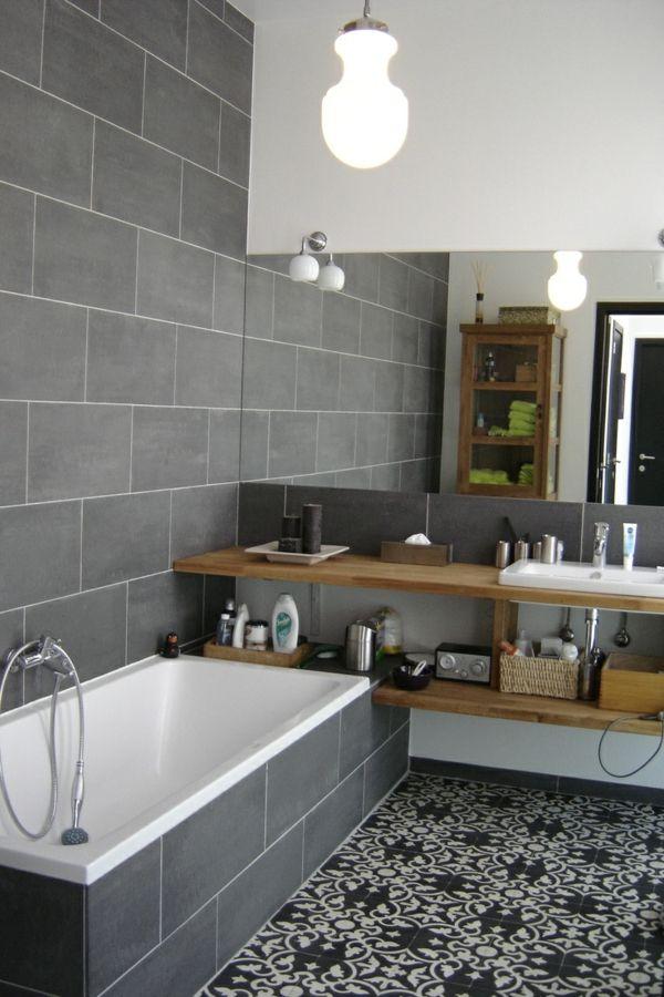 idée décoration salle de bain - salle de bain gris et jolis ... - Idee Salle De Bain Grise