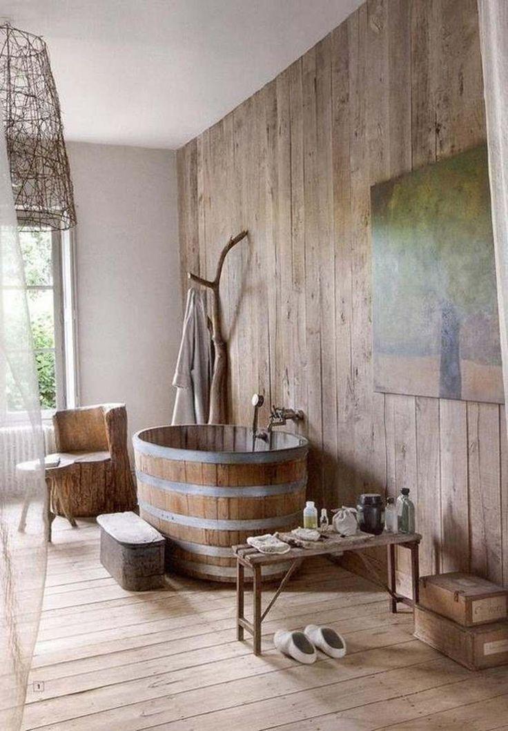 idée décoration salle de bain - salle de bain rustique au charme ... - Salle De Bain Naturelle