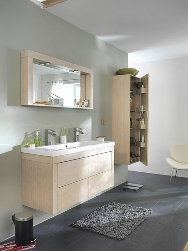 id e d coration salle de bain salle de bain sol en carrelage gris et meubles salle de bain en. Black Bedroom Furniture Sets. Home Design Ideas