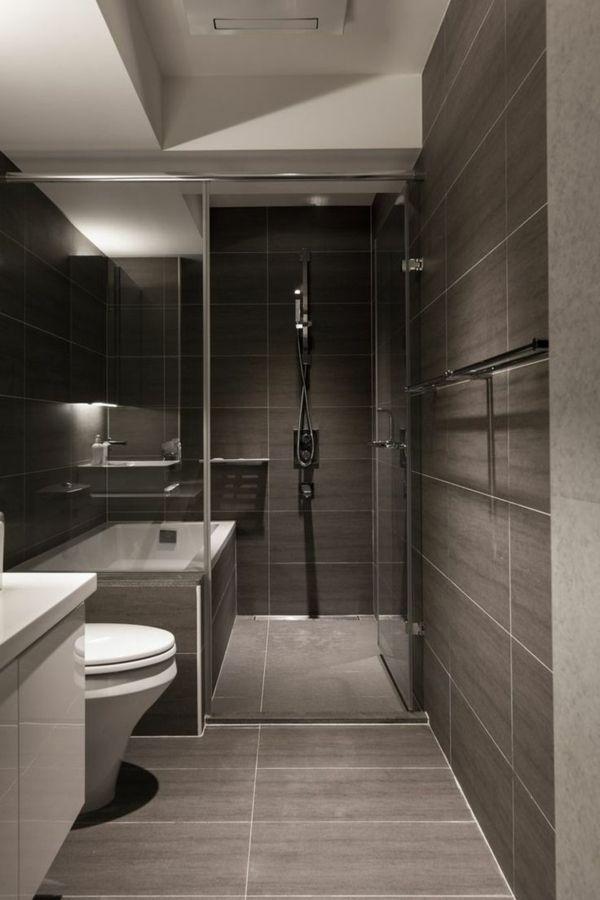 idée décoration salle de bain - salle de bains grise avec un ... - Salle De Bains Gris Et Blanc