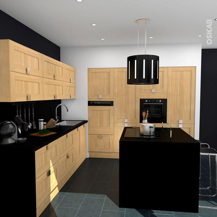 ide relooking cuisine cuisine contemporaine bois brut et noir avec lot central implantation ouverte - Cuisine Contemporaine Avec Ilot Central