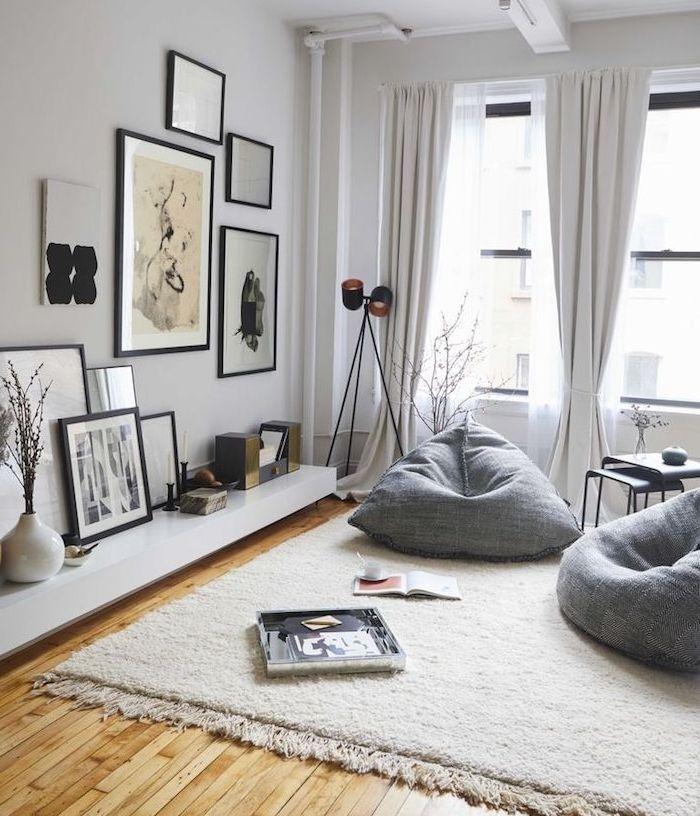 Déco Salon deco salon gris fauteuils gris tapis blanc cassé