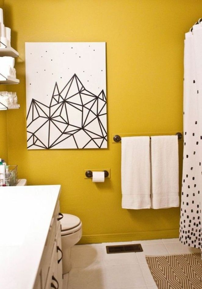 d co salon mur jaune moutarde dans une salle de bain. Black Bedroom Furniture Sets. Home Design Ideas