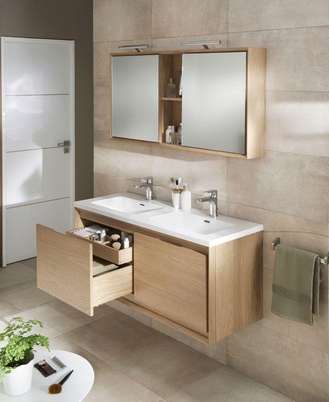 Id e d coration salle de bain bois blanc beige lapeyre for Meuble vasque arrondi