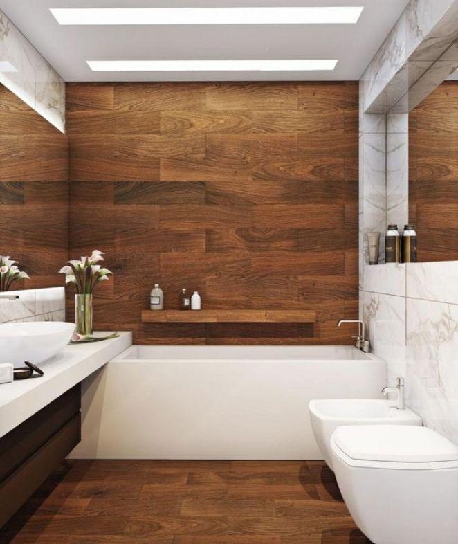 Id e d coration salle de bain carrelage sol salle de bain effet bois lambr - Lambris bois dans salle de bain ...