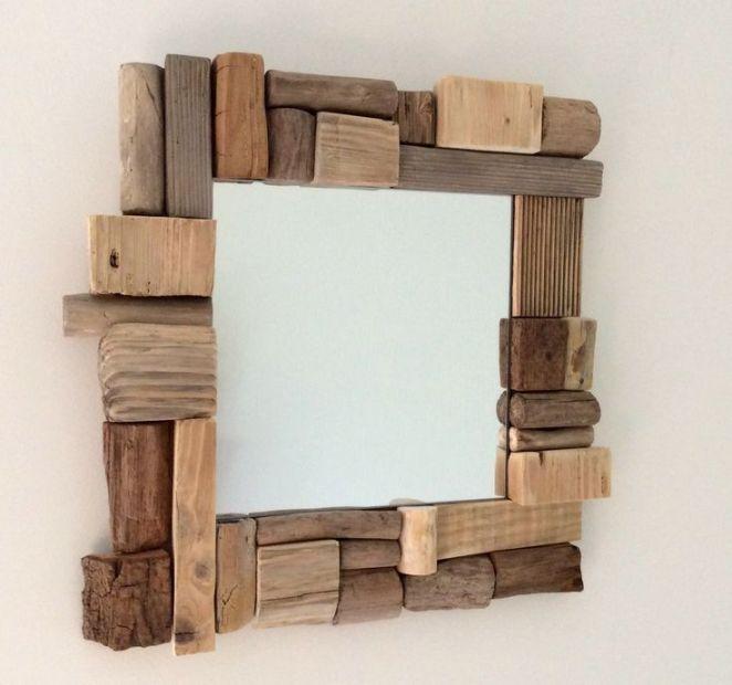 Idée décoration Salle de bain - Miroir en bois flotté par l ...