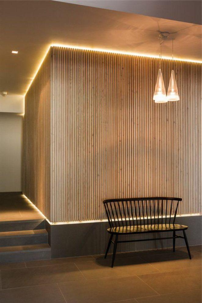 d co salon eclairage indirect pour le couloir avec mur en bois leading. Black Bedroom Furniture Sets. Home Design Ideas