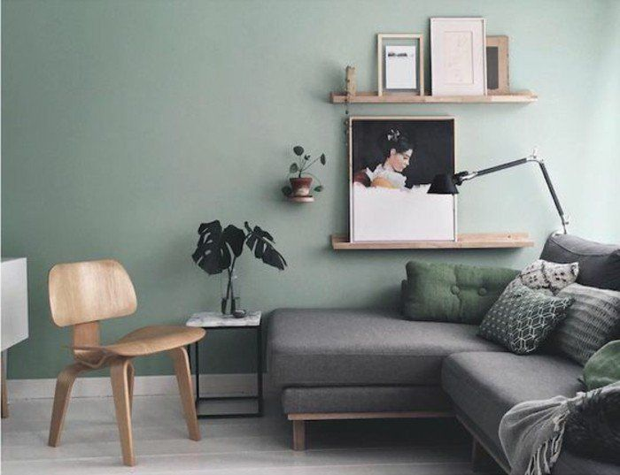 d co salon mur couleur vert pastel canap gris deco. Black Bedroom Furniture Sets. Home Design Ideas