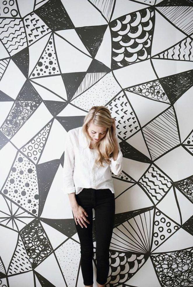 d co salon papier peint g om trique blanc et noir pour. Black Bedroom Furniture Sets. Home Design Ideas