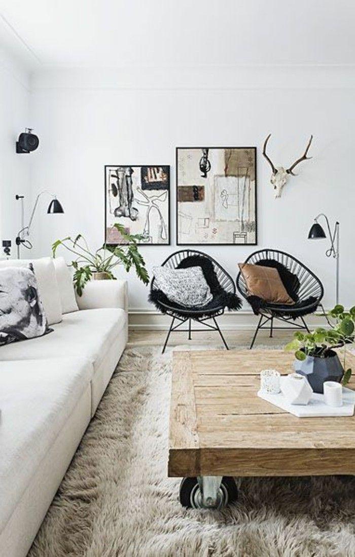 D co salon salon design scandinave chaises en fer noir table basse bois brut tapis en fo - Table basse de salon en bois brut ...