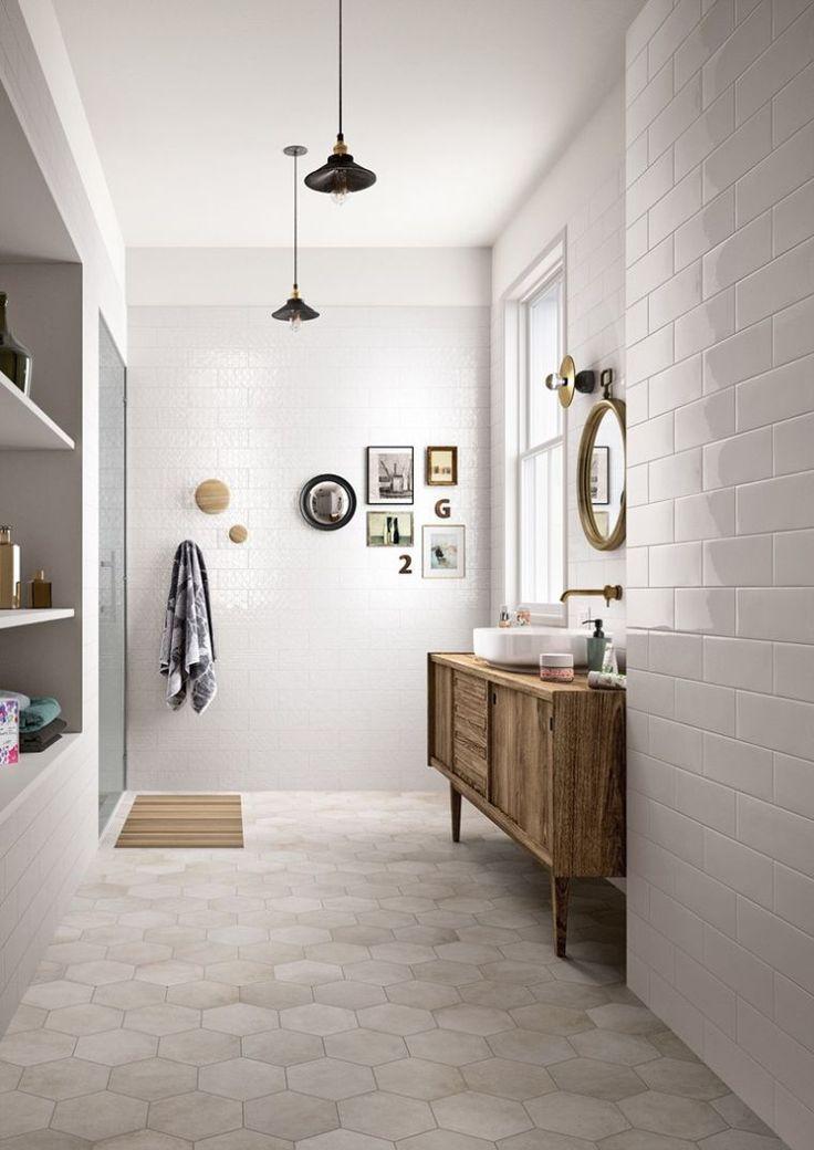 Idée décoration Salle de bain - carrelage hexagonal de couleur ...