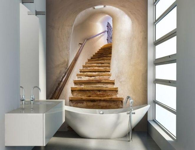 Idée décoration Salle de bain - papier peint salle de bain avec ...