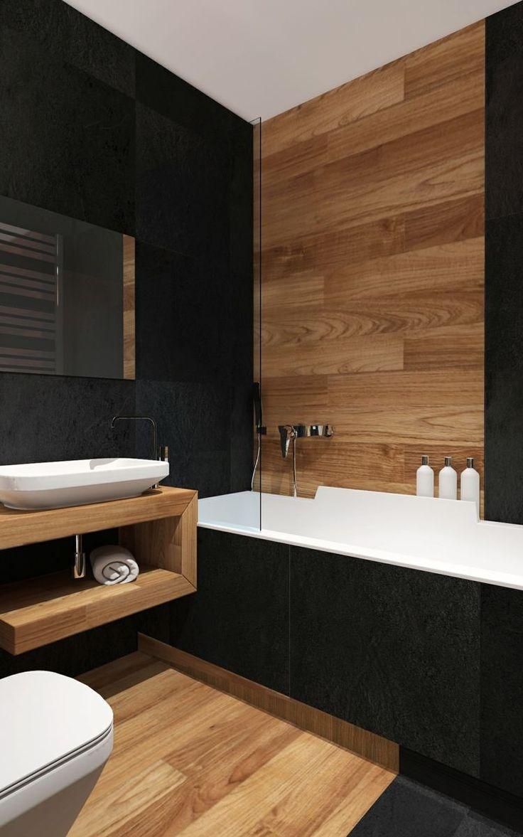 id e d coration salle de bain salle de bains moderne avec carrelage mural noir et imitation. Black Bedroom Furniture Sets. Home Design Ideas
