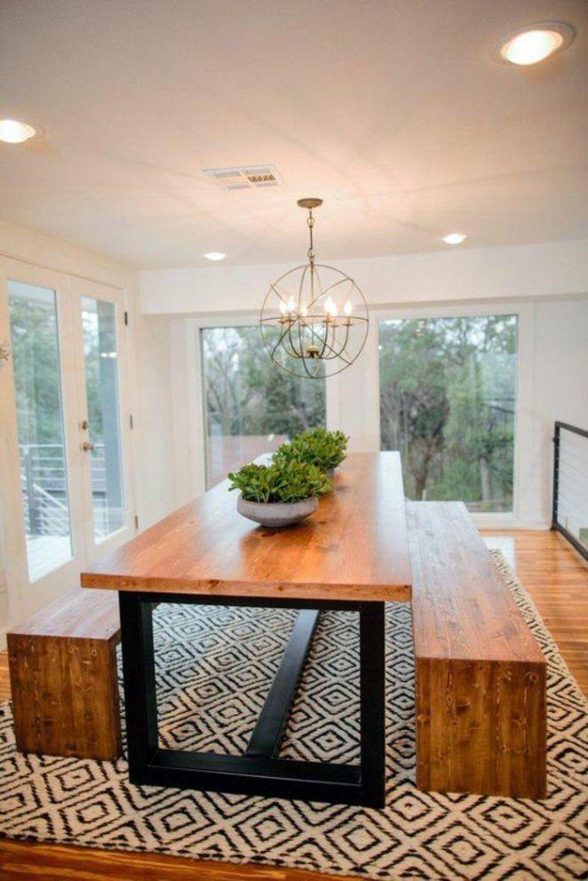 Idée relooking cuisine meuble de salle a manger, table bois et fer, banquettes en bois et  # Table Salle A Manger Bois Et Fer