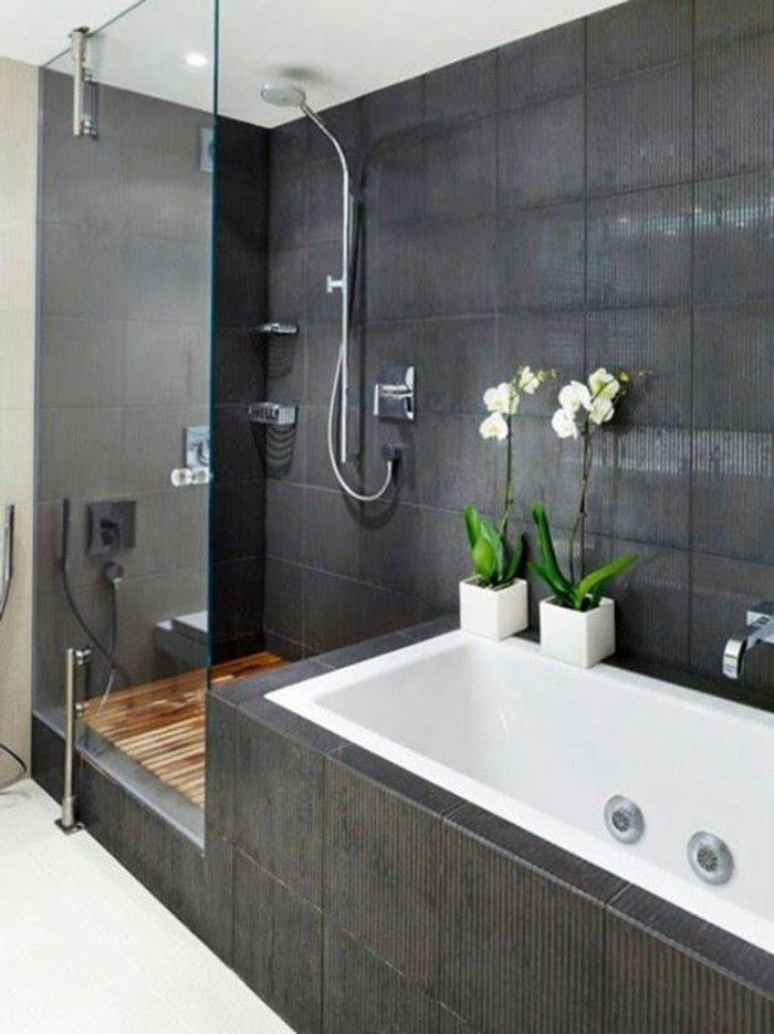 idée relooking cuisine - salle de bain avec carrelage gris ... - Salle De Bain Avec Carrelage Gris