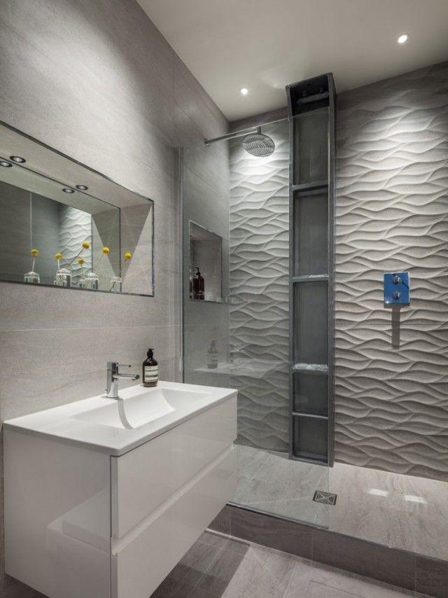 Id e d coration salle de bain carrelage mural grand for Carrelage grand format gris