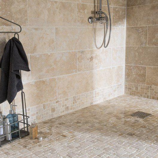 idée décoration salle de bain - pierre naturelle sol et mur ivoire ... - Salle De Bain En Pierre Naturelle