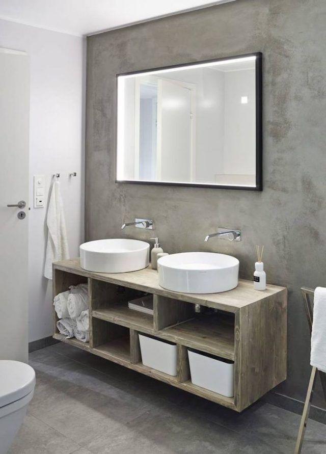 idée décoration salle de bain - salle-de-bain-beton-cire-meuble ... - Meuble Salle De Bain Beton Cire
