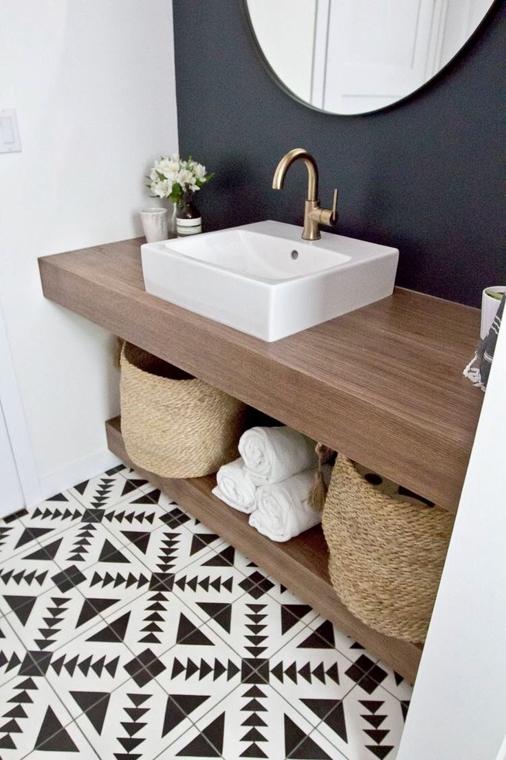 Id e d coration salle de bain salle de bains bois blanc motifs g om triques - Idee salle de bains ...