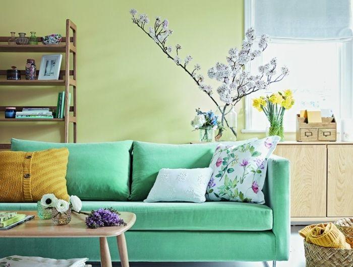Déco Salon - canapé couleur vert d eau dans un salon couleur ...