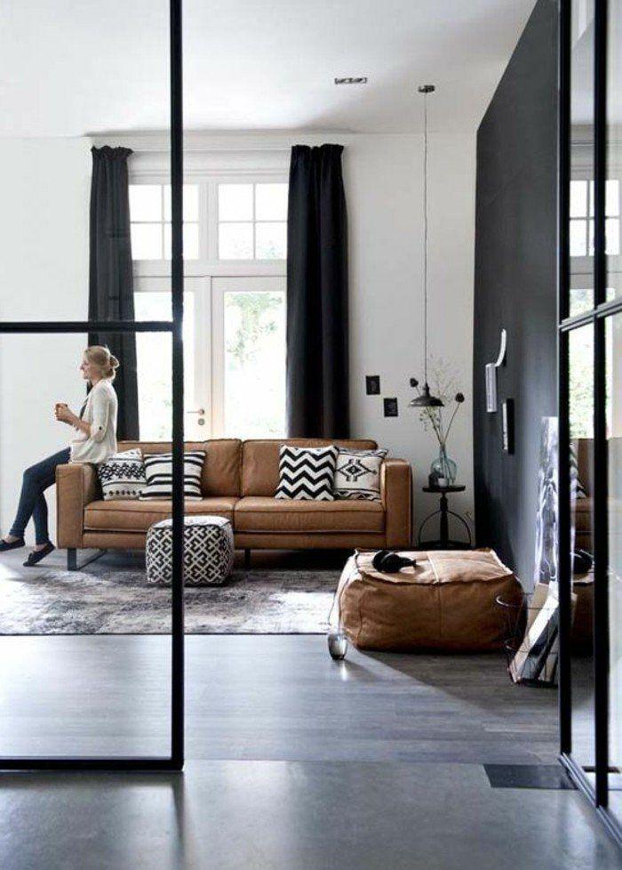 D co salon meubles de salon en cuir marron clair sol for Meuble deco salon