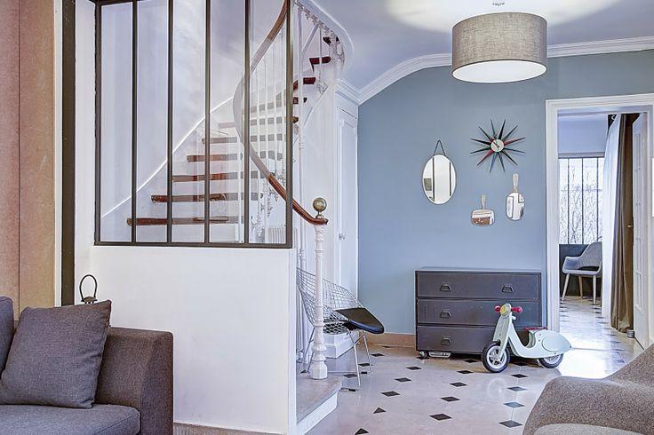 Déco Salon - Verrière Sur Escalier - Peinture Murale Bleu Grisé