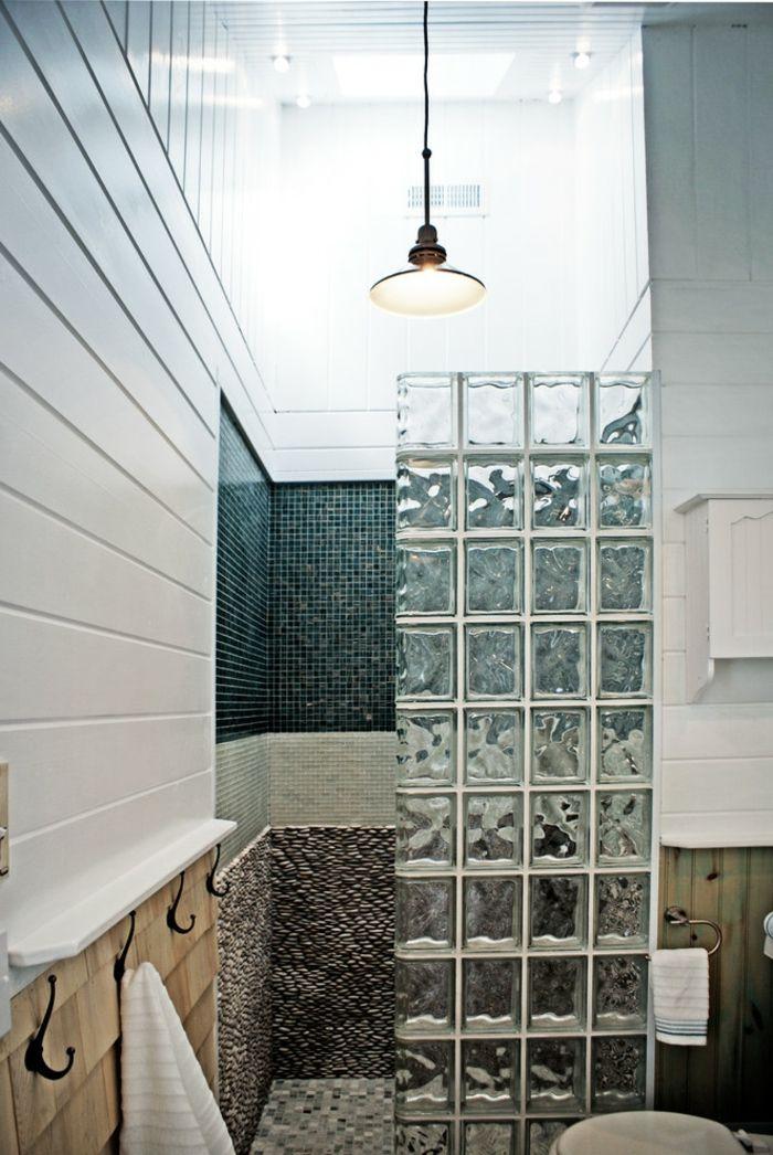idée décoration salle de bain - briques de verre, salle de bains ... - Salle De Bain Brique De Verre