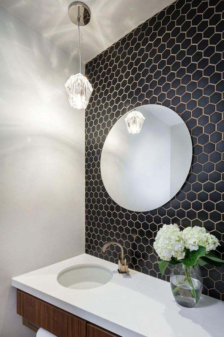 Id e d coration salle de bain carrelage hexagonal pour for Salle de bain avec carrelage noir