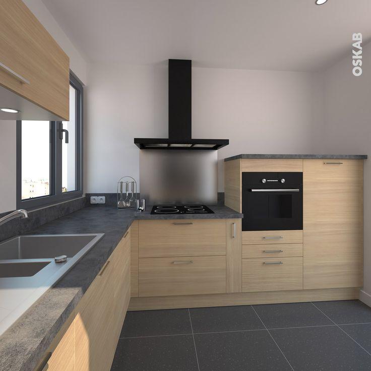 Id e d coration salle de bain cuisine en bois clair for Deco cuisine ouverte sur salle a manger