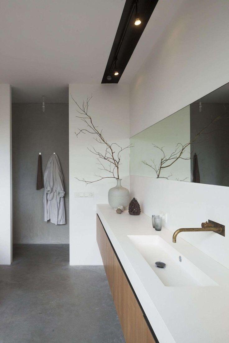 idée décoration salle de bain - revêtement de sol effet béton ciré ... - Salle De Bain Effet Beton